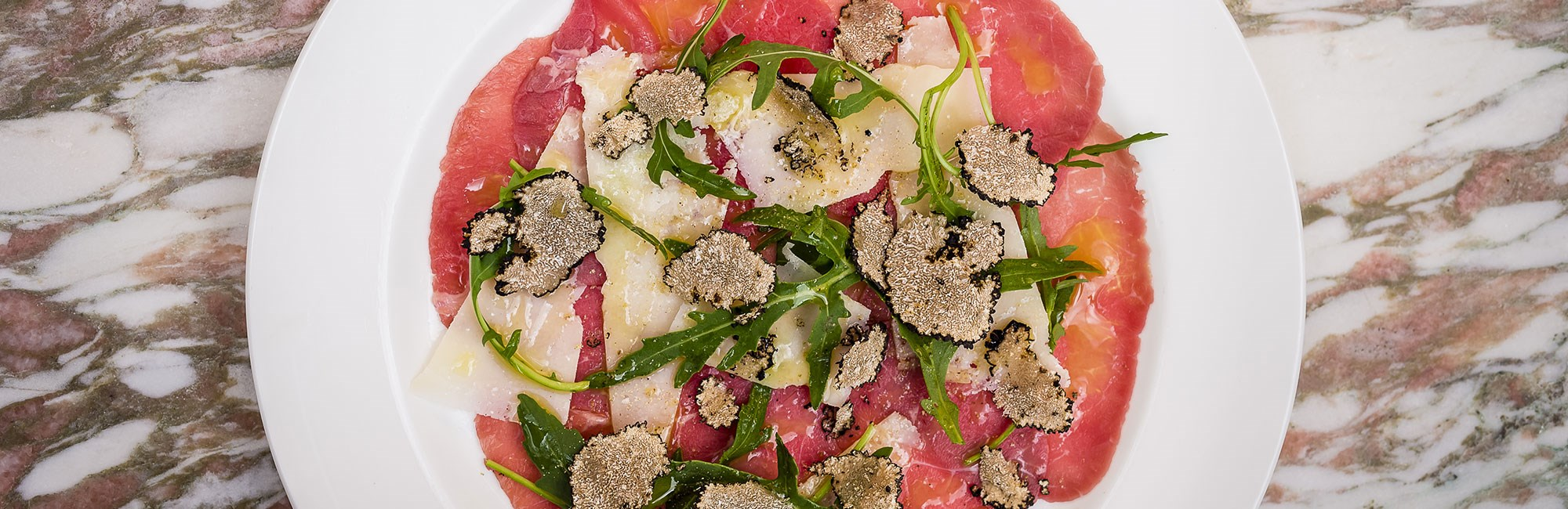 daphnes beef carpaccio rocket parmesan summer truffle by paul winch furness