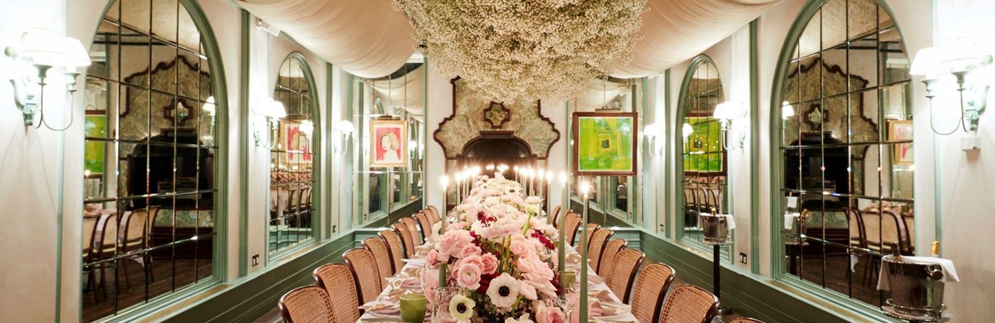 Private dining event in Daphne's Conservatory in Chelsea, London
